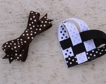 Bow and Heart Hair Clip Set, Black and White Heart Clip, Brown Polka Dot Clip, Girls Hair Accessories, Hair Clips for Girls or Ladies