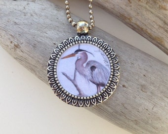 Great Blue Heron Pendant Handmade with Watercolor Art Print
