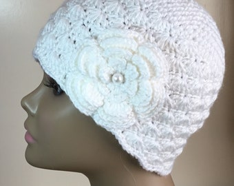 Women's crochet hat,  ACRYLIC, chemo hat, white, removable flower, Ready to ship.  S12