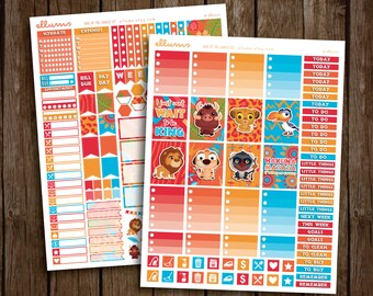 King of the Jungle Kit   PRINTABLE pdf jpg   Disney™ Lion King Inspired Planner Stickers   Simba Mufasa   fits Erin Condren or Recollections