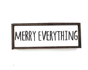 Merry Everything Handcrafted Wooden Christmas Sign // Rustic Sign // Farmhouse Christmas Sign // Hand Painted Wood Sign