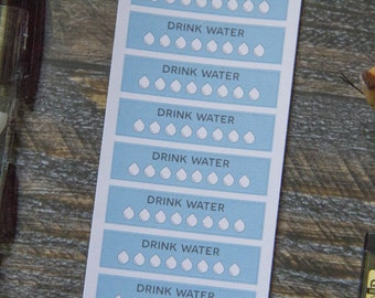 Water Log Stickers for Weekly Planner / Matte & Writeable