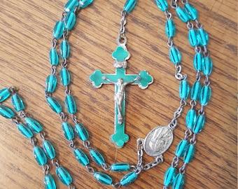 "Beautiful Vintage Teal Beaded Rosary, 21 1/2"" long"
