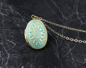 Ornate Turquoise Locket Necklace, Long Oval Locket, Blue Necklace, Turquoise Necklace Small Locket Pendent, Small Blue Locket Necklace Gift