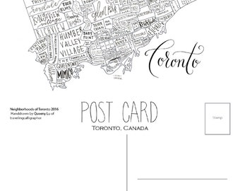Toronto Neighborhood Map: 4x6 Post Card (Pack of 5)