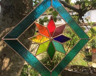 Stained Glass Suncatcher Teal & Multi Colour Copper Star Art Panel Stain Glass Color - CRhodesGlassArt