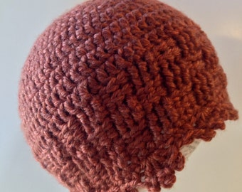 Winter Beanie, Basket stitch hat, copper