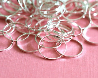 25pcs 12mm Silver Finish Smooth Rings EC18712MM-S