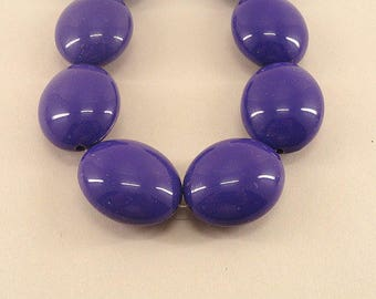 30mm PURPLE Oval Plastic Beads Solid Color Acrylic Large Chunky Beads 12 Pcs
