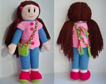 PDF PATTERN crochet doll Marta with a messenger bag / step by step tutorial/cute kawaii girl doll with purse/doll for kids/mother's day