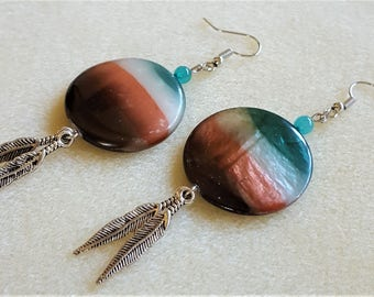 CLEARANCE! - Southwestern Shell Earrings with Feathers