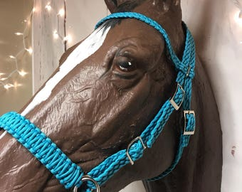 Bitless bridle, side pull hackamore, headstall, bridle, horse, horse tack, turquoise horse tack