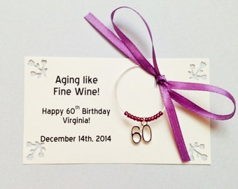 60th birthday party favors and 60th anniversary favors. Wine charms. Wine Charm Favors. Customized for your event. 1 to 50 favor count.