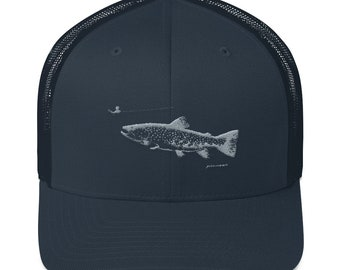 Trout Looking up at Fly - Trucker Cap