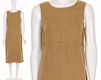 90's NATURAL BEIGE Linen Dress MINIMALIST Midi Dress Sleeveless Dress Metal Zipper Back Small Medium