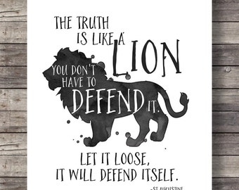 The truth is a lionLet it loose, it will defend itself  | St Augustine quote | watercolor, ink typography | Printable wall art | decor