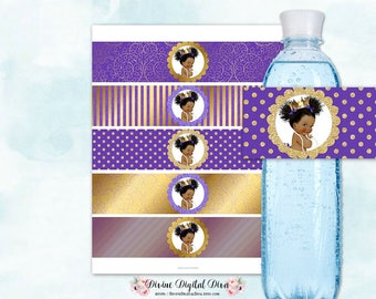 Water Bottle Labels | Royal Purple & Gold | African American Princess Crown Afro Puffs | Digital Instant Download