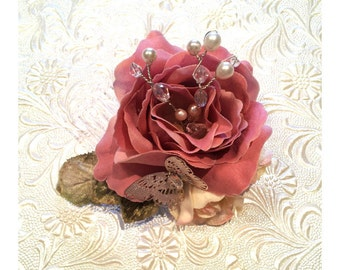 Pink and Cream rose Hairpiece with butterfly