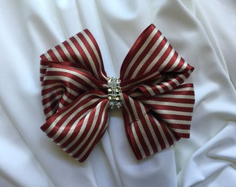 Burgundy and Silver Double Hair Bow