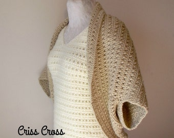 Criss Cross Cocoon Shrug ~ Crochet Pattern