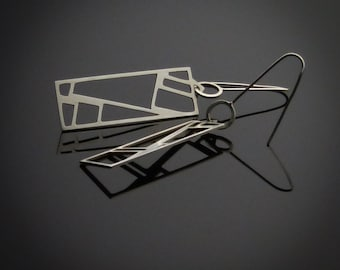 Cubism Rectangle Earrings, Handmade, Designer, Sterling Silver Earrings, Geometric, Elegant, Sophisticated, Metalsmith Jewelry
