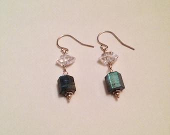 King of Cups Labradorite Herkimer Diamond Sterling Silver Gemstone Earrings | Handmade Witch Earrings | Minimalist Avant Garde Tarot Jewelry