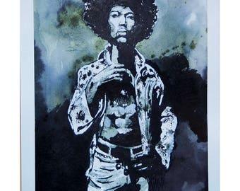 Original Ink Wash Drawing Jimi Hendrix Portrait