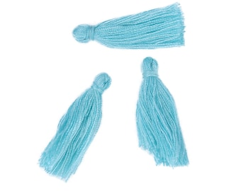 "10 TURQUOISE BLUE TASSEL Charms, Rayon Fiber Tassels, 40mm long (about 1-5/8""), chs3398"