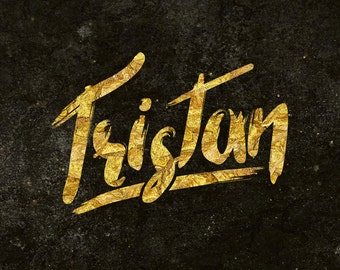 Tristan Brush Font Typeface Free Swash Vector and Free Gold Texture Design