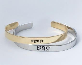 Resist Cuff Bracelet, Resist Jewelry, Custom Feminist Cuff Bracelet, Personalized Cuff, Anti-Trump Cuff, Women's Rights Cuff Bracelet, gift