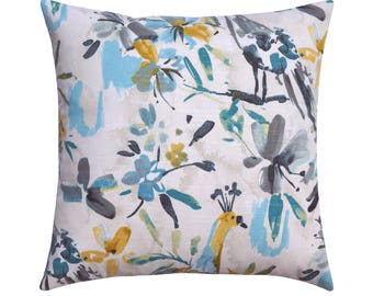 Blue Grey Floral Pillow Cover, Gray Accent Pillow, Gray Pillow, Pillow, Designer Floral Pillow Cover, Decorative Pillow 18x18 20x20 22x22