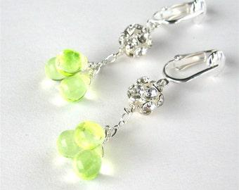 Bright Lemon Yellow Clip On Earrings, Rhinestone Dangle Clipons, Silver Ear Clips, Yellow Teardrop Clusters, Lemon Ice