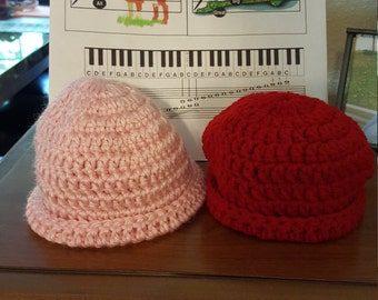 Preemie baby hats Created with Soft Baby yarn for that very special little one (2-6 pounds). Choose different styles!