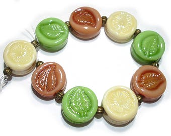 SRA Handmade Glass Lampwork Beads, Patterned Fall  Colors Tabs