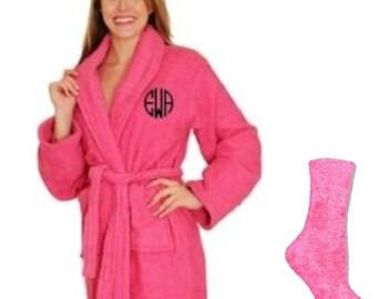 2pc. Ladies Plush Robe Set with Glitter Monogram