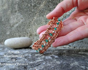 Wire Wrapped Copper Bangle Wire Wrap Bracelet With Green Onyx And Silver Beads.