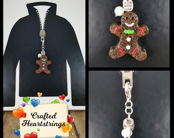 Zipper Pulls ~ Purse Charms ~ Backpack Decorations ~ Handmade ~ Chunky Gingerbread Man w/ Charms