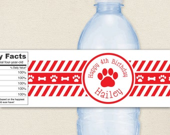 Puppy Party - 100% waterproof personalized water bottle labels - Choose red, blue or pink