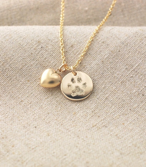 Your pets actual paw print pendant and puffed heart charm mozeypictures Images