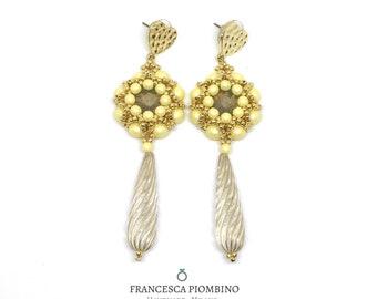Long earrings, vintage earrings, pastel yellow earrings, pearl earrings, beaded earrings, pastel colours.
