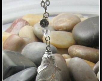 """Teardrop Dandelion Seed Pendant on 32"""" Chain"""