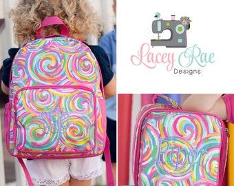 Summer sorbet colorful Toddler or preschool girls Backpack, Lunchbox, Preschool backpack, Church Bag, Diaper Bag, little girl backpack