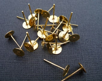 100 pairs Gold Flat Pad Earring Posts with 6mm Flat Pads 12mm Posts Nickel Free
