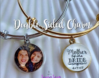 Personalized Mother of the Bride Bracelet Wedding Gift for Mom Custom Photo Bracelet Mother of Bride Gifts From Bride to Mom Custom Jewelry