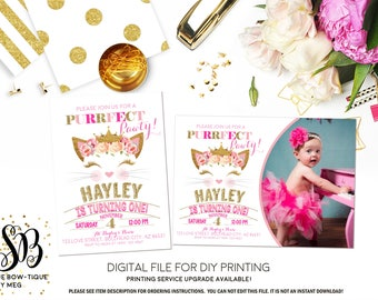Kitten Purrfect Pawty Floral Pink and Gold Princess  Personalized birthday photo invitation-  ***Digital File*** (Princess-Kitten)