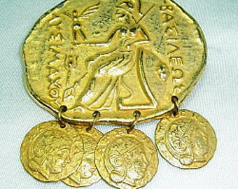 Vintage Greco-Roman Style Coin Charm Brooch