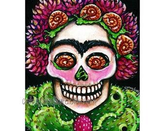 """Lento pero Seguro"""" - Art by Karina Gomez - Original or Print on Fade Free Paper Dia de los Muertos- Day of the Dead Art - Sugar Skull"""