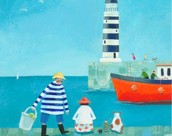 Mr and Mrs Fish and the Lighthouse fine art giclée print