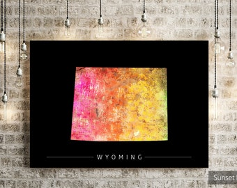 Wyoming Map - State Map of Wyoming - Art Print Watercolor Illustration Wall Art Home Decor Gift - SUNSET PRINT