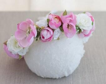 Pink Flower Crown, Pink Floral Crown, Bridal Flower Crown, Maternity Flower Crown, Flower Crown, Spring Flower Crown, Wedding Flower Crown